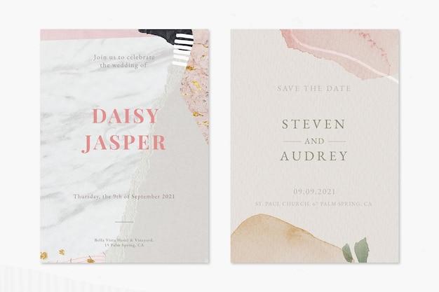 Conjunto de modelos de cartão de convite de casamento bege