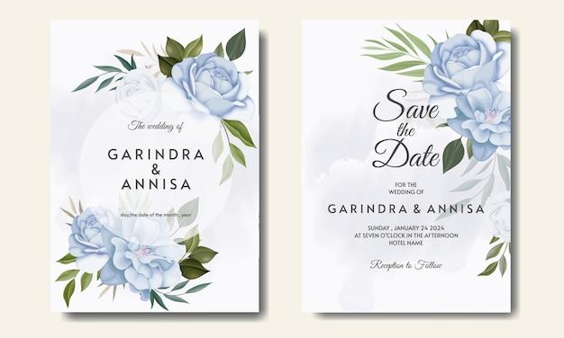 Conjunto de modelos de cartão de convite de casamento com lindo quadro floral