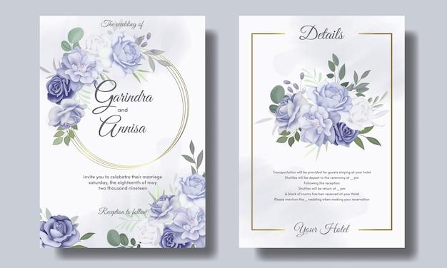 Conjunto de modelos de cartão de convite de casamento com moldura floral azul bonita