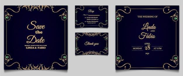 Conjunto de modelos de cartão de convite de casamento de luxo