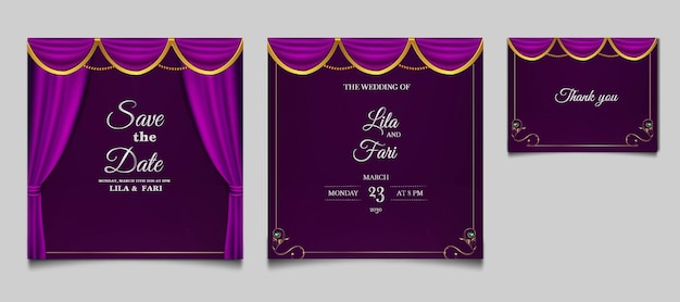 Conjunto de modelos de cartão de convite de casamento elegante para salvar a data