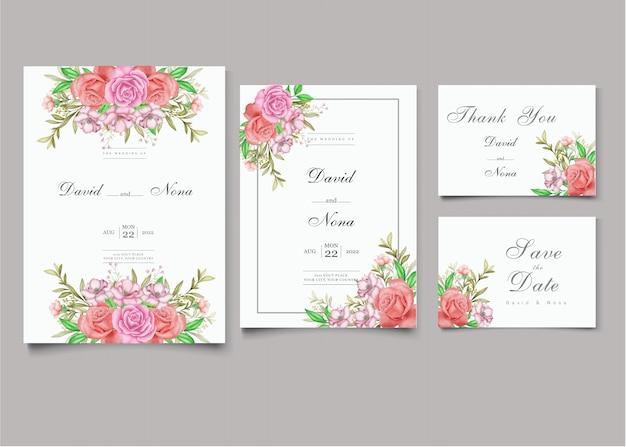 Conjunto de modelos de cartão de convite de casamento floral elegante