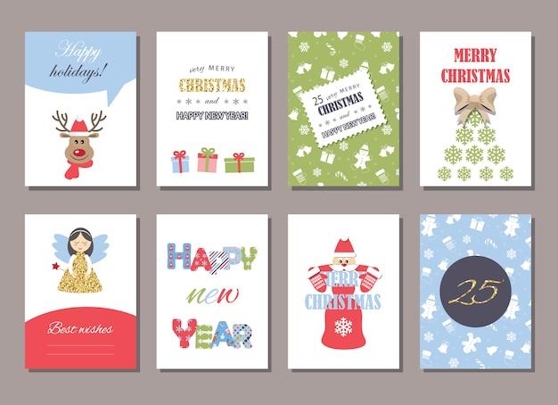 Conjunto de modelos de cartão de natal e ano novo bonito.