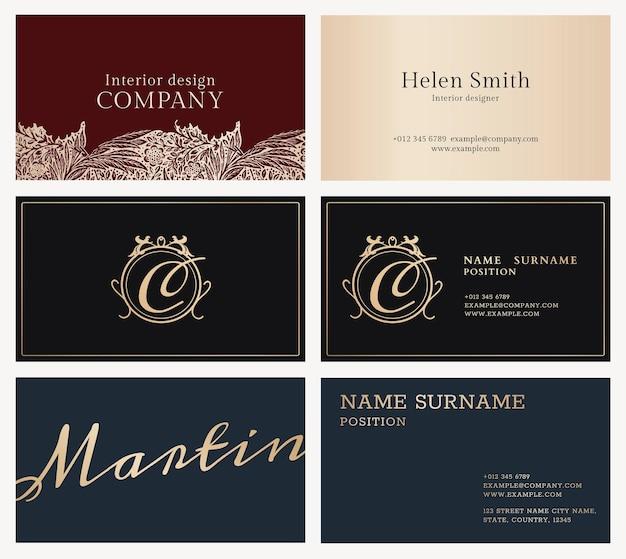 Conjunto de modelos de cartão de negócios de luxo flatlay