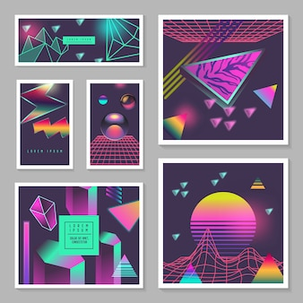 Conjunto de modelos de cartaz synth wave. fundo futurista com elementos geométricos brilhantes de néon. design holográfico