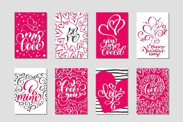 Conjunto de modelos de cartões de dia dos namorados amor vector. cartaz de mão desenhada dos namorados
