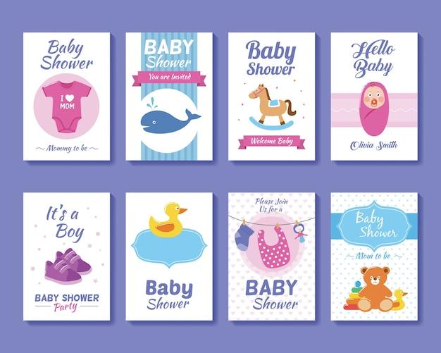 Conjunto de modelos de cartões de saudação e cartão de convite para bebês