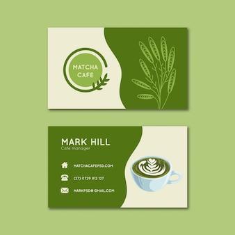 Conjunto de modelos de cartões de visita horizontais de chá matcha
