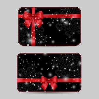 Conjunto de modelos de cartões ornamentais com laço de fita de cetim vermelho brilhante feriado