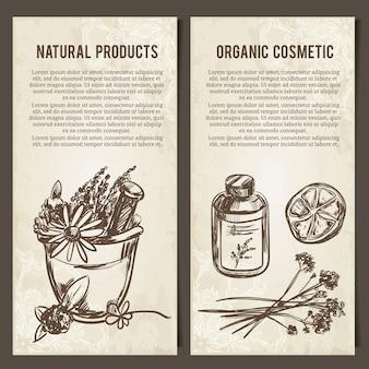 Conjunto de modelos de cartões para produtos naturais e orgânicos elementos desenhados à mão