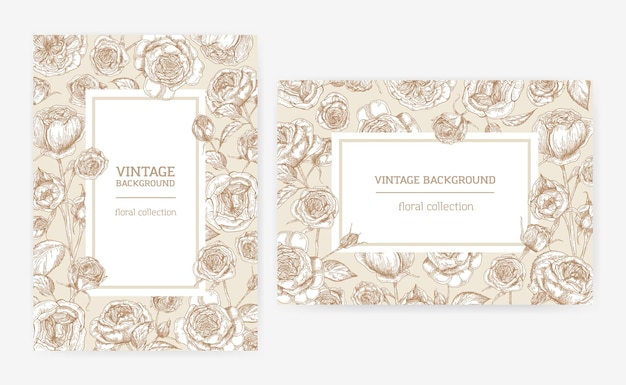 Conjunto de modelos de cartões verticais e horizontais com molduras feitas de flores rosas de austin