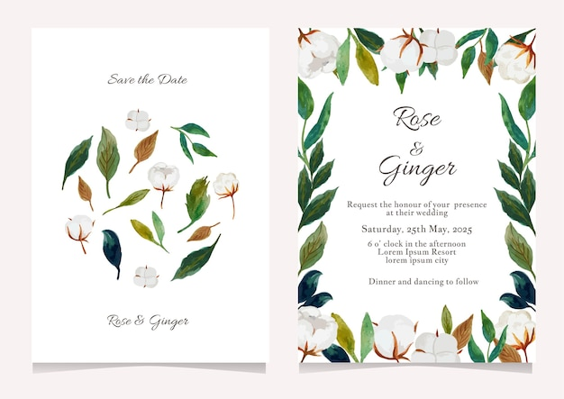 Conjunto de modelos de convite de casamento com flores bonitas Vetor Premium