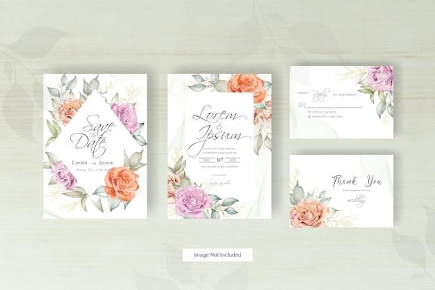 Conjunto de modelos de convite de casamento com moldura floral elegante e arranjo floral aquarela desenhado à mão