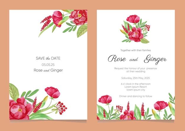 Conjunto de modelos de convite de casamento de peônias vermelhas em aquarela