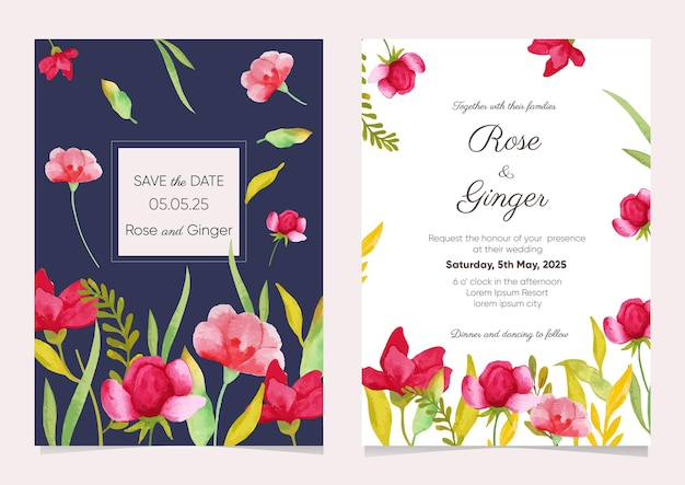 Conjunto de modelos de convite de casamento em aquarela