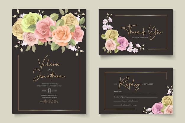 Conjunto de modelos de convite de casamento floral suave