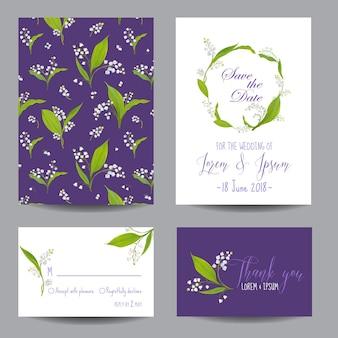 Conjunto de modelos de convite de casamento floral