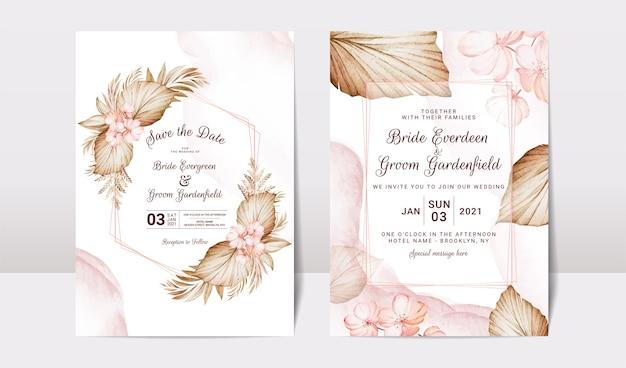 Conjunto de modelos de convite de casamento