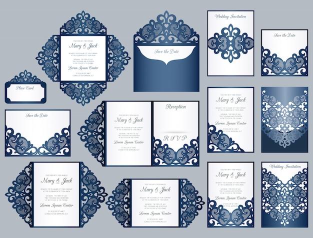 Conjunto de modelos de convite de corte e corte a laser. coleção de casamento