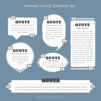 Conjunto de modelos de cotações vintage