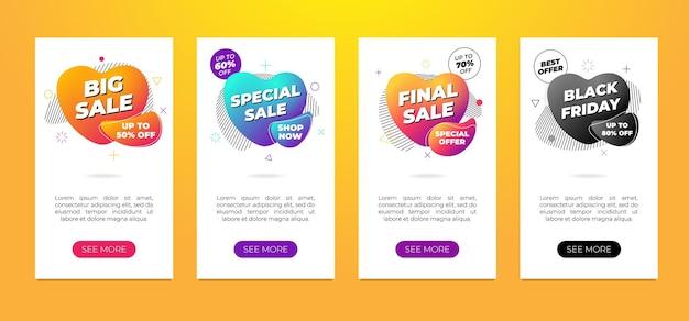 Conjunto de modelos de design de banner de venda folheto de fluido gradiente moderno dinâmico em fundo branco