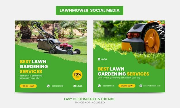 Conjunto de modelos de design de banner para publicação de cortadores de grama na mídia social facebook instagram