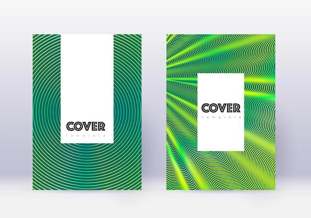 Conjunto de modelos de design de capa hipster. linhas verdes abstratas sobre fundo escuro. design de capa encantador. catálogo de tendências, pôster, modelo de livro etc.