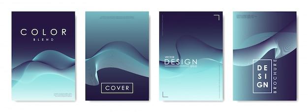 Conjunto de modelos de design de capas com pano de fundo gradiente vibrante.