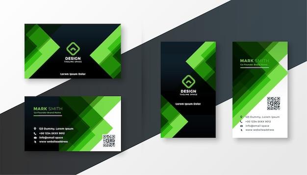 Conjunto de modelos de design de cartão de visita verde elegante