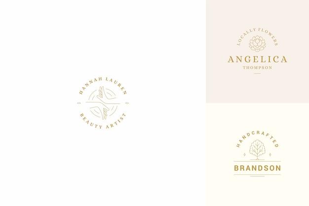 Conjunto de modelos de design de emblemas de logotipos de linha
