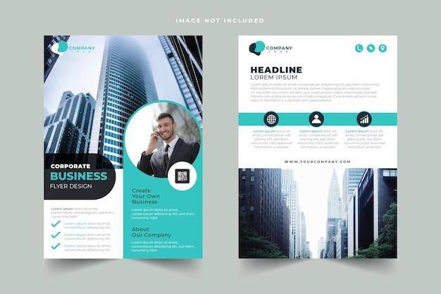 Conjunto de modelos de design de folheto de negócios corporativos de dois lados