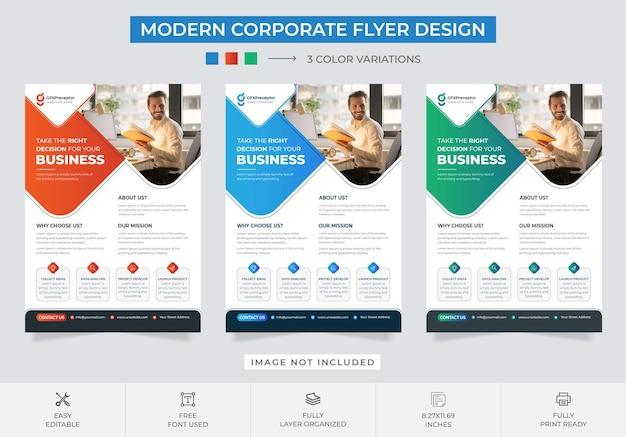 Conjunto de modelos de design de folheto de negócios moderno coporate