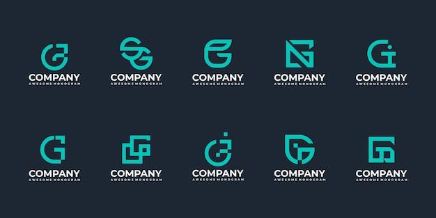 Conjunto de modelos de design de logotipo com monograma inicial da letra g