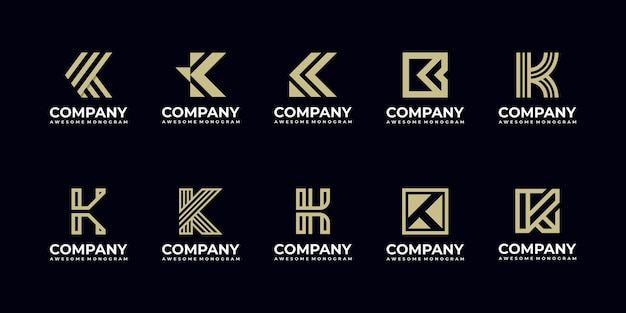Conjunto de modelos de design de logotipo com monograma inicial da letra k