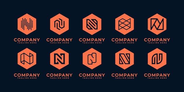 Conjunto de modelos de design de logotipo com monograma inicial da letra n