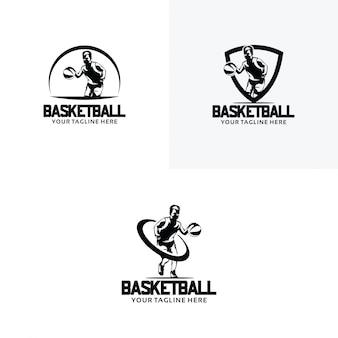 Conjunto de modelos de design de logotipo de basquete