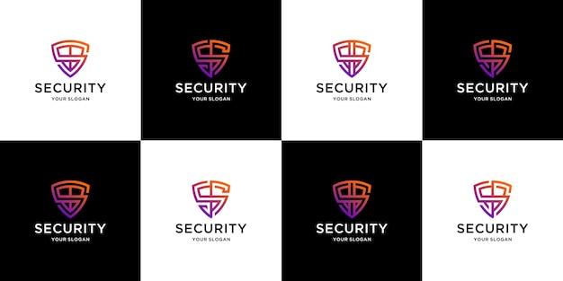Conjunto de modelos de design de logotipo de carta de escudo criativo