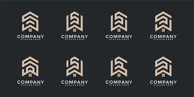 Conjunto de modelos de design de logotipo de carta de monograma imobiliário