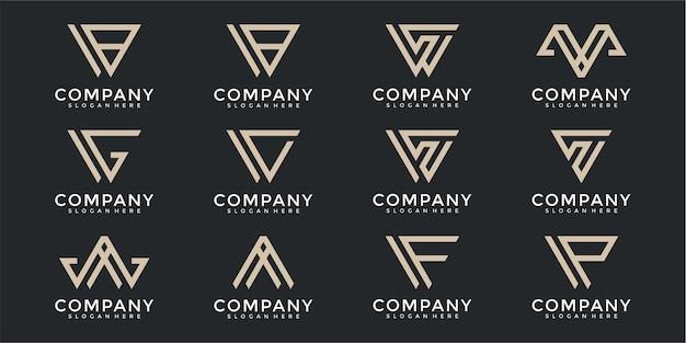 Conjunto de modelos de design de logotipo de carta monograma