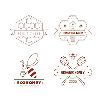 Conjunto de modelos de design de logotipo de contorno. rótulos de mel orgânico e ecológico isolados no branco. empresa de produção de mel, pacote de mel.