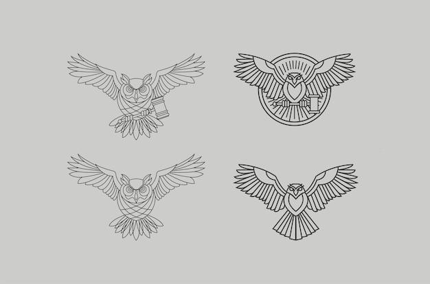 Conjunto de modelos de design de logotipo de coruja