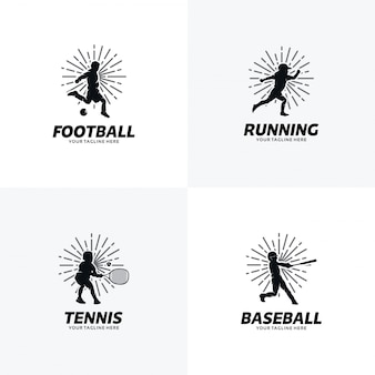 Conjunto de modelos de design de logotipo de esporte