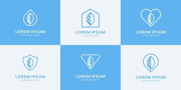 Conjunto de modelos de design de logotipo de folhas. coleção para o seu negócio