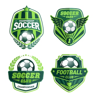 Conjunto de modelos de design de logotipo de futebol