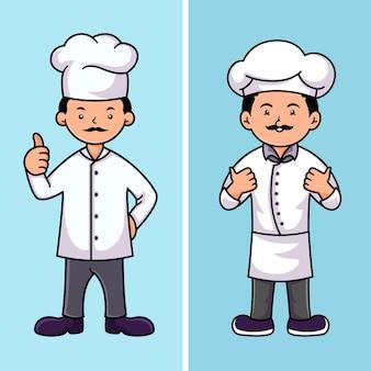 Conjunto de modelos de design de logotipo de personagem de chef