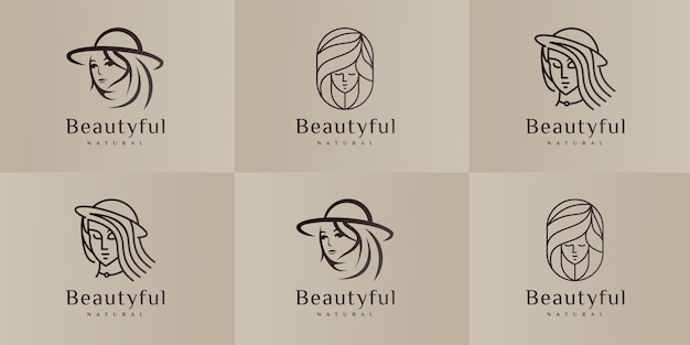 Conjunto de modelos de design de logotipo de salão de beleza e cabeleireiro.