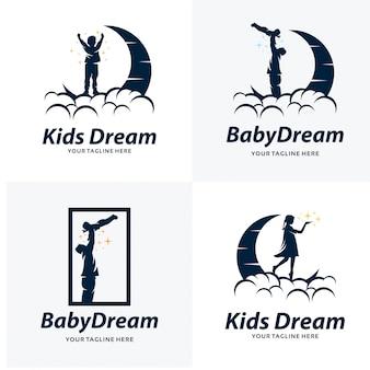 Conjunto de modelos de design de logotipo de sonho de crianças
