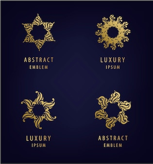 Conjunto de modelos de design de logotipo moderno abstrato em cores douradas