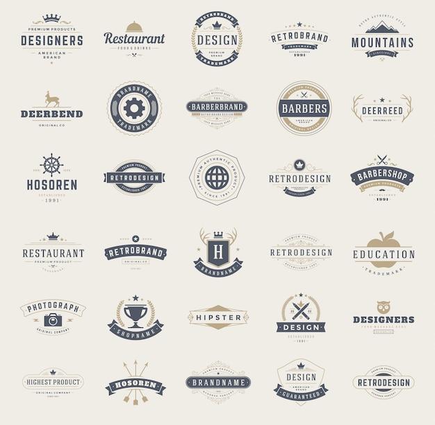 Conjunto de modelos de design de logotipos vintage.