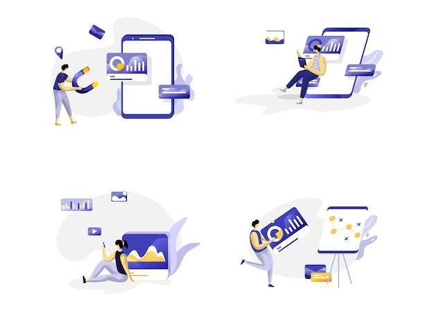 Conjunto de modelos de design de página da web para estratégia de marketing. conceitos para desenvolvimento de sites e aplicativos móveis.